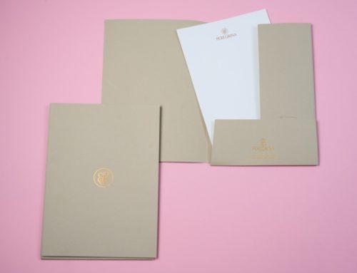 Chemise documents pour Cabinet Immobilier – Marquage à chaud  Cuivre Kurz 397 – Savile Row Plain Camel