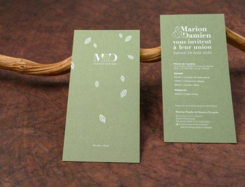 Faire-part de mariage feuilles avec dorure à chaud blanche brillante en débossage – Colorplan Mid Green 350gr/m2