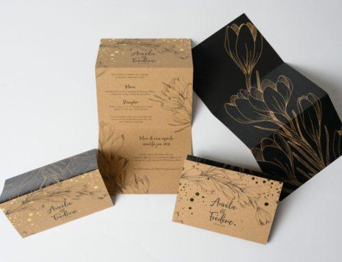Faire-part de Mariage Kraft Naturel 350gr/m2 en accordéon en Z avec 6 Volets – Dorure à chaud Or brillant et Impression Noir tulipe