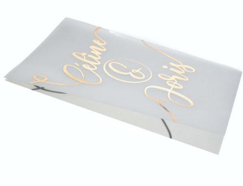 Faire-part de mariage avec calligraphie de prénoms en dorure Or rose sur calque 230gr/m2