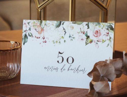 Carton d'invitation fleuri noces d'or 50 ans de mariage Création Pack 350gr/m2