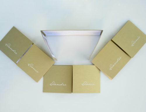 Faire-Part de Baptême pour Jumeaux sur papier Or et impression blanche avec pli fenêtre – Curious Metallics Gold Leaf
