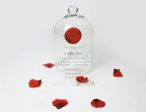 Faire-part de mariage en dorure à chaud sur plexiglas transparent avec impression aquarelle