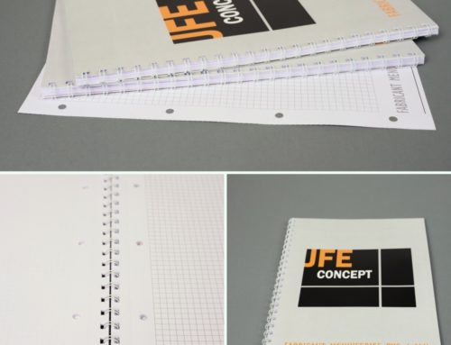 Bloc notes professionnel quadrillage avec trou classeur et feuilles détachables – Reliure metal Wire O