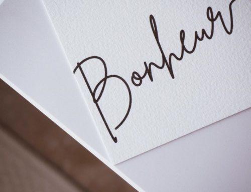 Carte Cadeau Bonheur sur papier de création texturé Arches Expression 400gr/m2