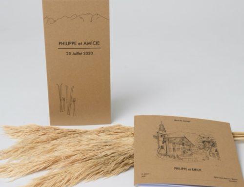 Menu et livret de messe de mariage Champêtre Chic  – Kraft Naturel 350gr/m2