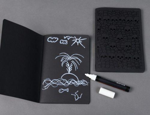 Carnet de notes Skull Black édition – Papier noir, dorure à chaud noir, couture singer noir