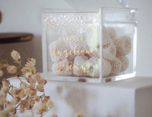 Etiquettes transparentes en dorure or pour boite à bonbon pour mariage en plexiglas