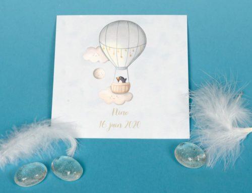 Faire-part de naissance garçon dessin aquarelle Montgolfière – Colorplan white frost 175gr/m2