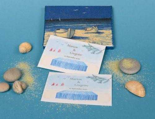 Faire-part de mariage aquarelle vue plage et marquage à chaud Or Mat – Pur Coton Cocaïne 350gr/m2