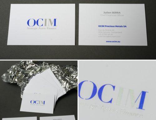 Cartes de Visite Negociant métaux précieux – Marquage à chaud Argent Mat et Pantone Bleu Reflex – Splendorgel 340gr/m2