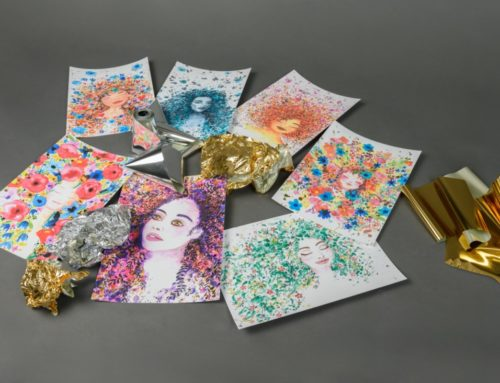 Affiche illustratrice aquarelle avec dorure numérique or brillant paillettes