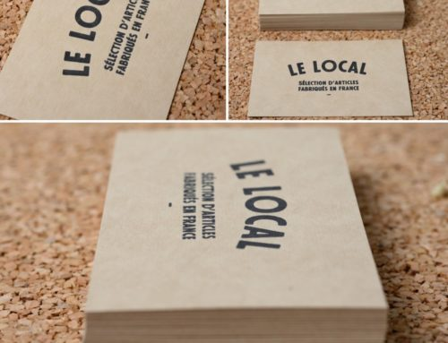 Cartes pour boutique made in france en Letterpress Noir sur Gmund No Color No Bleach 300gr/m2
