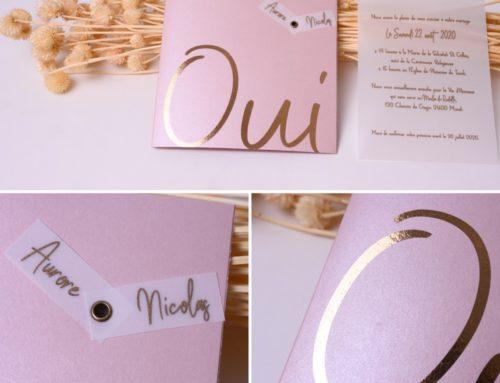 """Faire-part de Mariage """"Oui"""" papier rosé nacré dorure numérique or rose et calque – Sirio Pearl Misty rose"""