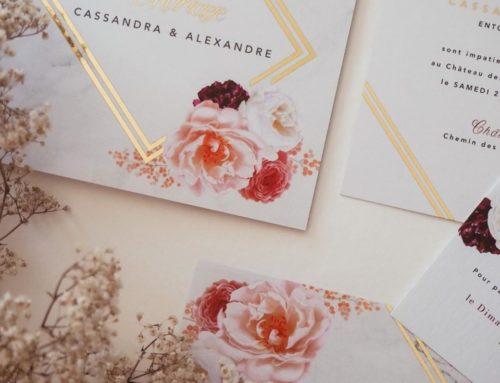 Faire-part de mariage aquarelle roses et dorure numérique or brillant – Pelliculage Soft Touch