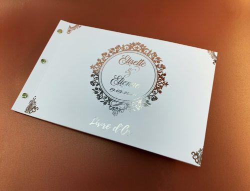 Livre de d'or mariage en dorure cuivre numérique avec reliure avec 2 vis laiton