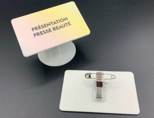 Badge presse évènement sur mesure en PVC 3mm avec attache broche