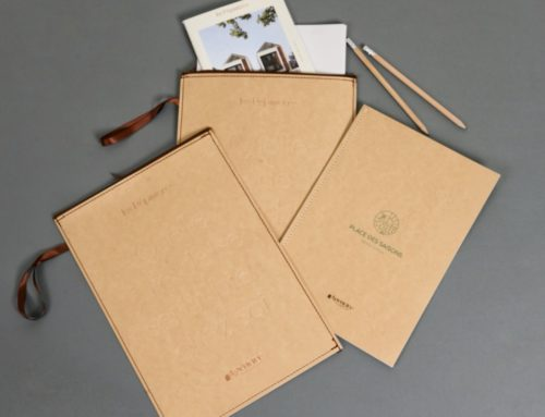 Pochette document Luxe à Zip pour promoteur – Dorure à chaud Cuivre – Couture Singer – Crayon de papier gravé – Papier de création