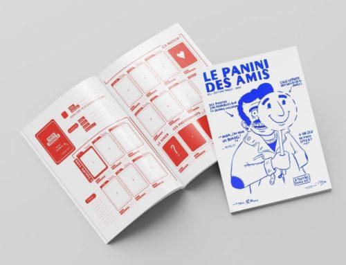 Catalogue Panini des amis – Brochure 2 pics métal et Pantone Offset Rouge 185C et Bleu Reflex