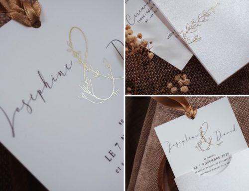 Faire-part de mariage pochette raffinée et paillettes – Gmund Gold Composition 310gr/m2 – Dorure à chaud or Mat et Carton en Dorure numérique OR et Soft Touch
