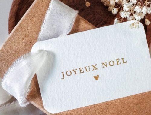 Carte de Noël en Marquage à chaud Or mat avec débossage sur papier coton Arches Texture 400gr/m2 et angles arrondis