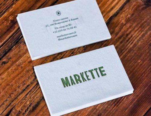 Cartes de visite pour Restaurant en Letterpress Pantone Vert – Papier Gmund No Color 300gr/m2