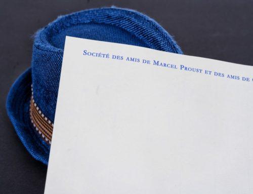 Papier en tête impression Thermo-relief bleu reflex pour association littéraire – Papier Conqueror Vergé blanc 120gr/m2l