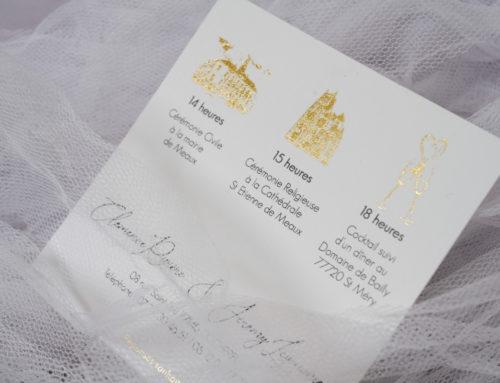 Faire-part de mariage élégant avec église et mairie en dorure or brillante sur papier texturé – Old Mill 300gr/m2
