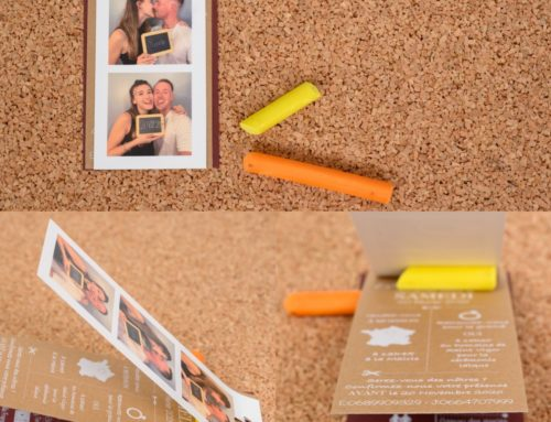 Faire-part de mariage Photomaton Kraft et impression blanche – Kraft Naturel 350gr/m2 et Keaykolour Carmine 300gr/m2
