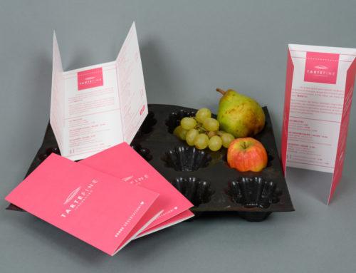 Dépliant 3 volets pour Boulangerie Fine – pliage portefeuille – Pelliculage Soft touch
