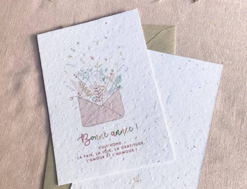 Carte de voeux à faire pousser sur papier ensemencé aux graines de fleurs sauvages 280gr/m2