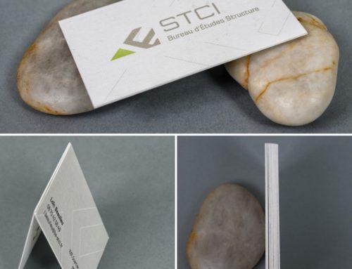 Cartes de visite contre collés duplex 500gr/m2 avec papier texture maillée – Rives Design 250gr/m2