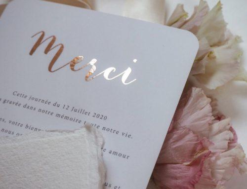 Carton de remerciement Mariage en Dorure numérique Cuivre et angle arrondis 9mm sur Pelliculage Soft Touch