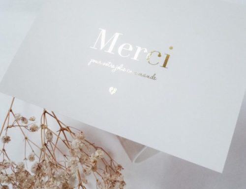Carte e-shop Mille Merci en dorure numérique Or brillante sur papier texturé – Création pack 350gr/m2