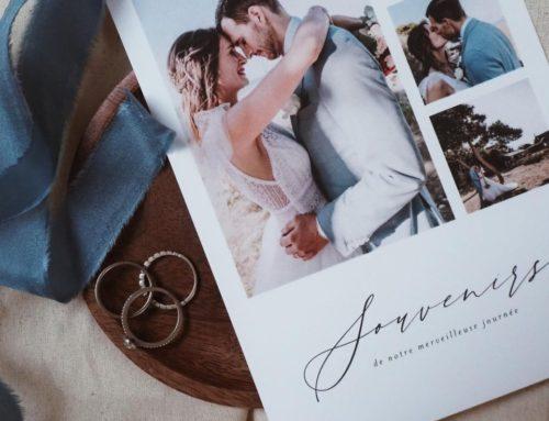 Grand carton de Remerciements pêle-mêle photo avec pelliculage soft-touch