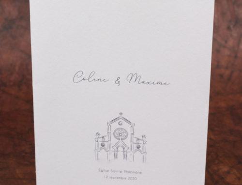 Livret de messe avec dessin église – Reliure 2 agrafes métal – Old Mill Premium White 300gr/m2