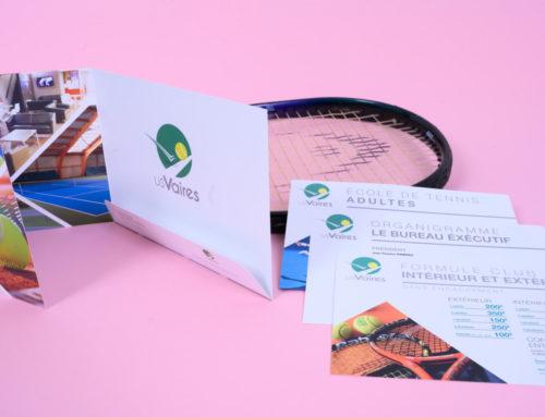 Dépliant club de tennis en 3 volets paysage avec rabats – Couché mat 350gr/m2