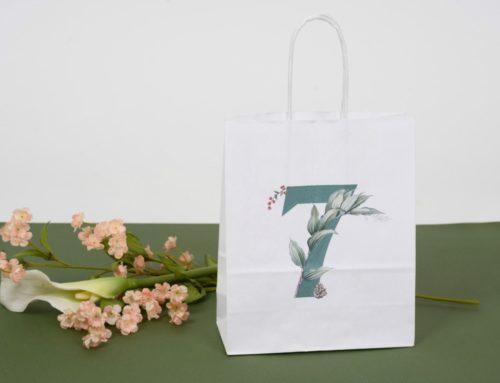 Sac cadeau de mariage en papier blanc anse avec impression florale 7