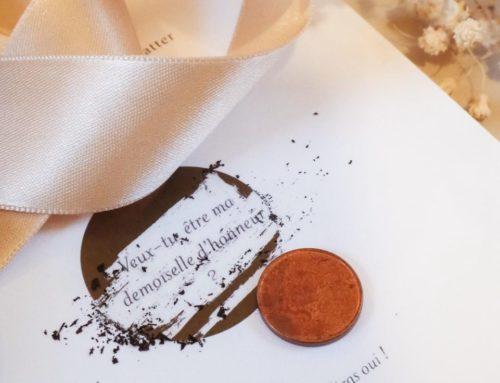Cartes demoiselle d'honneur à gratter avec sont ruban satin – Pelliculage Mat