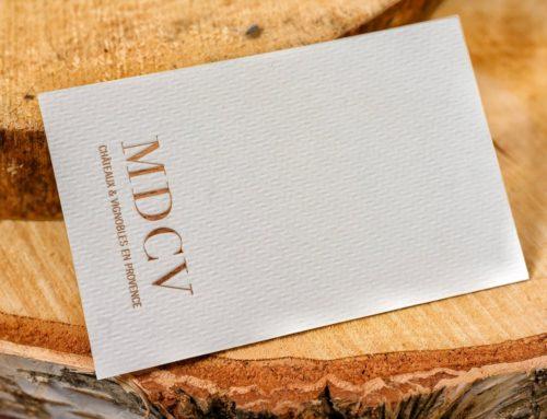 Carte de visite moderne – Dorure à chaud cuivre sur papier texturé chevron Rives Tweed 350gr/m2
