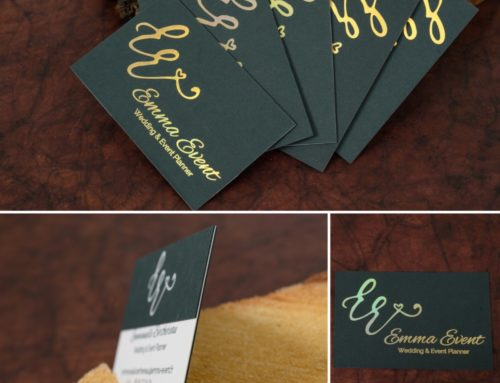 Carte de visite Wedding Planner – Dorure à chaud Holographic Gold – Contre collage Duplex double niveaux – Colorplan Racing Green