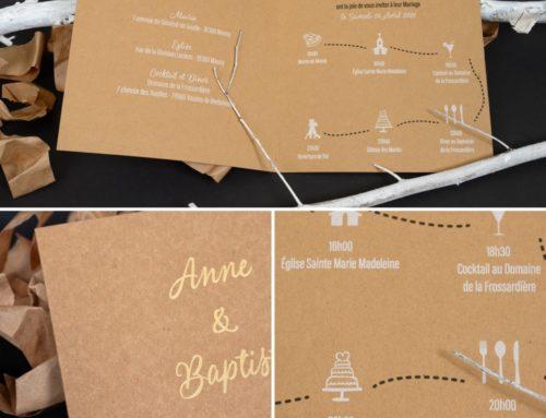 Faire-part de mariage Kraft et Or en 2 volets – Impression Blanche et Noir Numérique – Dorure à chaud Or Brillante – Papier Kraft 350gr/m2
