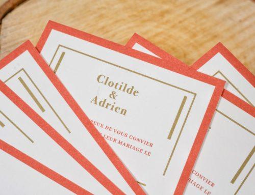 Save the Date Swing en Pantone Rouge 2350U et OR 871U – Papier Rives Tradition 250gr/m2