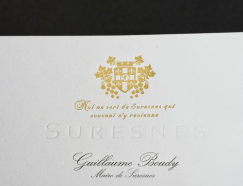 Carte de félicitations Mairie pour Mariage et Naissance – Gaufrage et Dorure à chaud blason OR Mat – Pur Coton Cocaïne 350gr/m2