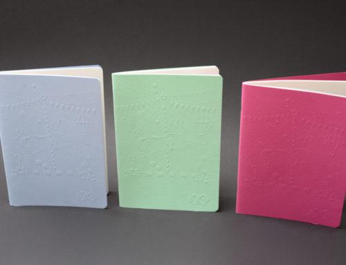 Collection de carnets agrafés avec couverture embossée – Colorplan Park Green, Azure Blue, Fuchsia Pink