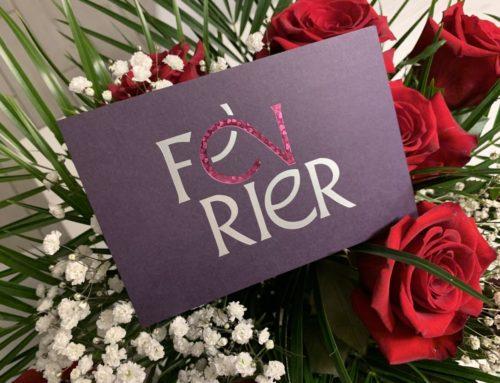 Calendrier ICB 2021 Carte Février – dorure rose micro structurée personnalisée motif coeur – Marquage argent mat sur Colorplan Amethyst 270gr/m2