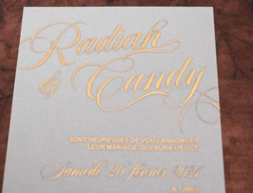 Faire-part de mariage calque A6 et dorure Numérique Cuivre – Curious Translucent clear
