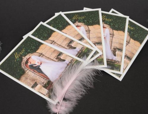 Carte de remerciement de mariage avec photo et dorure à chaud traditionelle OR – Olin regular blanc naturel 400gr/m2