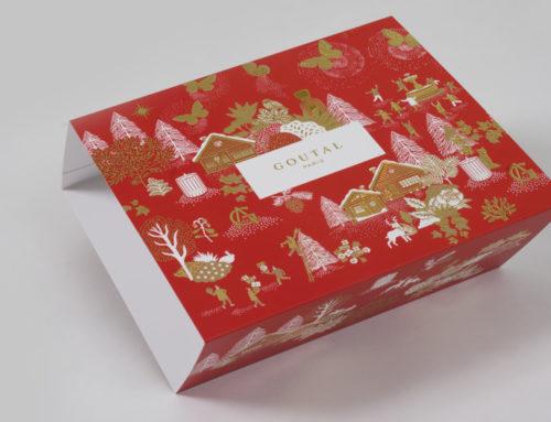 Fourreau Sleeve pour box cadeau de Noël – Pelliculage soft touch et Dorure numérique 3D Or brillante