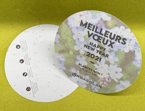 Carte de Voeux éco ensemencé aux graines de myosotis 280gr/m2 – découpe à la forme ronde 15cm